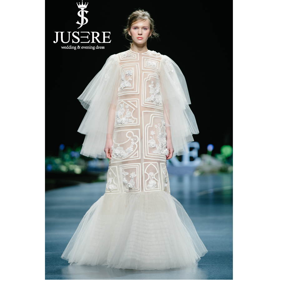 JUSERE 2019 SS FASHION SHOW Lace Ivory Wedding Dress Embroidery Long Sleeve Illusion Bridal Gowns Vestido de noiva