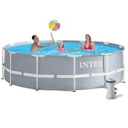Каркасный круглый бассейн дачный для детей летний для отдыха для дачи размер 305х99 см, 6500 л, Intex Metal frame, арт. 26706