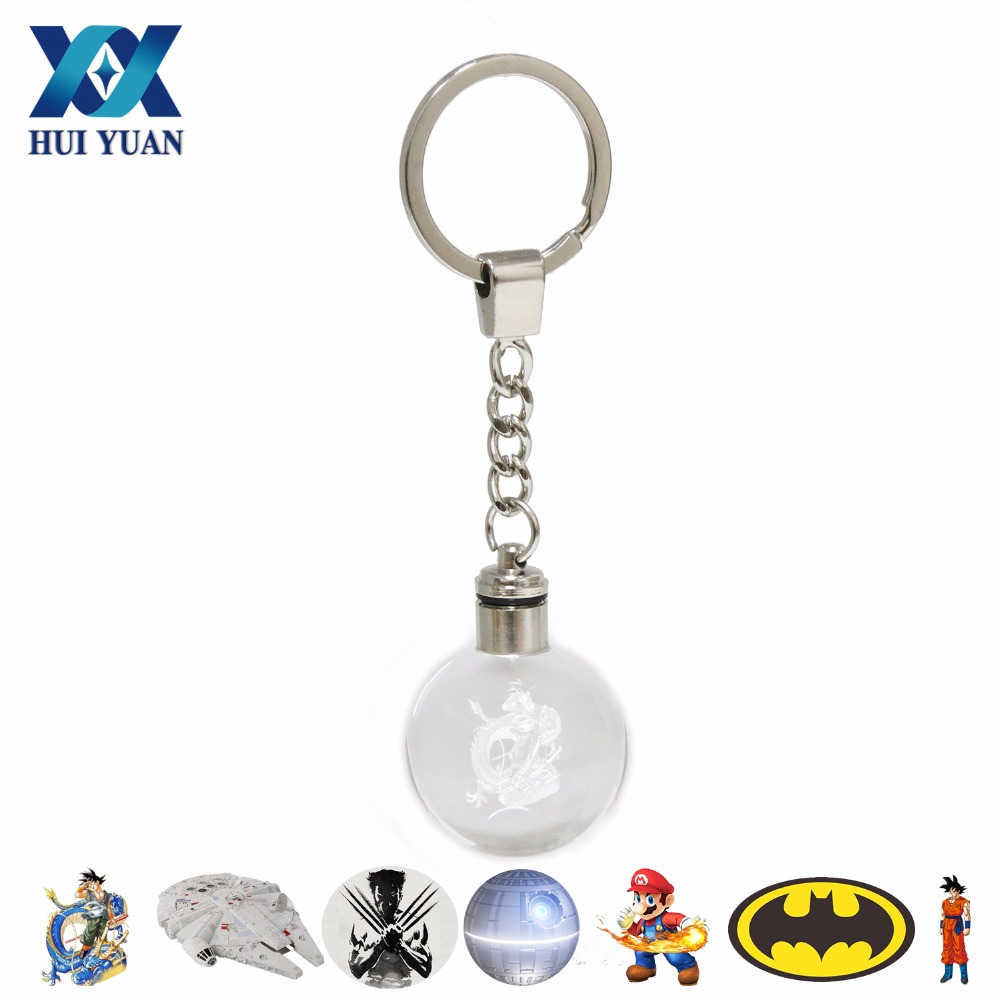 Go Engraving Round 3d Crystal Glass Ball Mewtwo Arceus Led Keychain Colorful Pendant Children