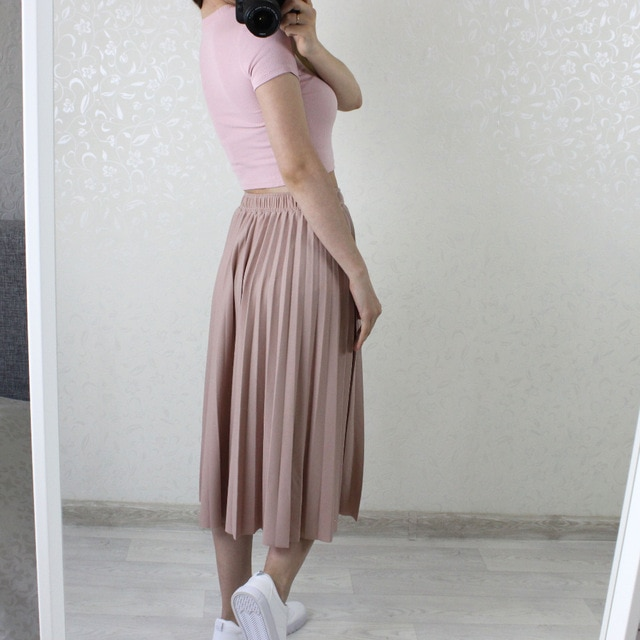 Spring Summer Women High Waist Skirt Solid Color Pleated Skirt Women Causal Midi Skirts photo review