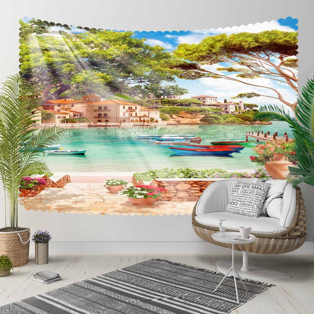 Else Blue Sea Side Green Trees Beach Floral 3D Print Decorative Hippi Bohemian Wall Hanging Landscape Tapestry Wall Art
