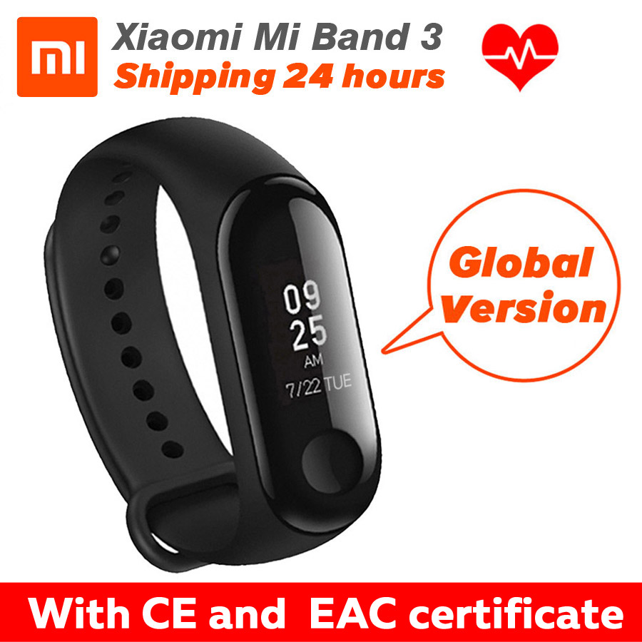 In Stock Xiaomi Miband 3 Mi Band Fitness Tracker Heart Rate Oled Display Free Screen Guard Global Version