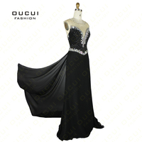 Chiffon Fabric With Tulle Blue Color Sparkle Beading Handwork New Party Dress Celebrity Women OL102452