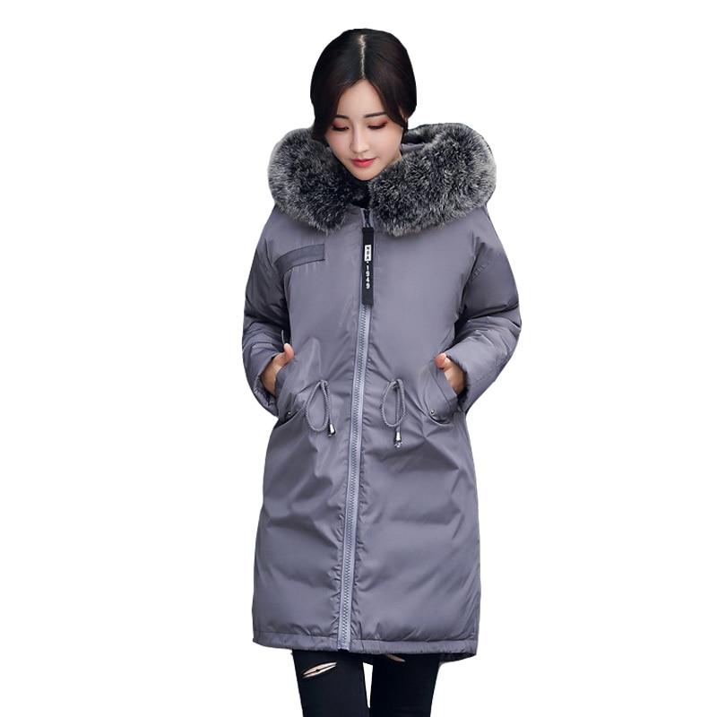 Grand fourrure manteau d'hiver épaissie parka femmes couture slim long manteau d'hiver vers le bas coton dames vers le bas parka vers le bas veste femmes