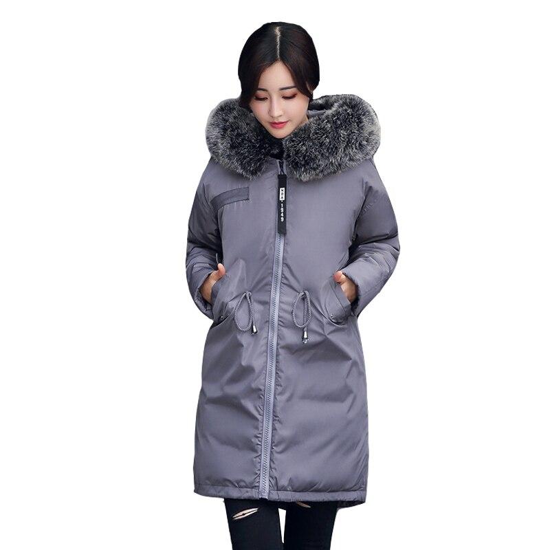 Grande cappotto di pelliccia di inverno addensato parka donne cuciture slim lungo cappotto di inverno giù cotone delle signore giù parka giù donne giacca
