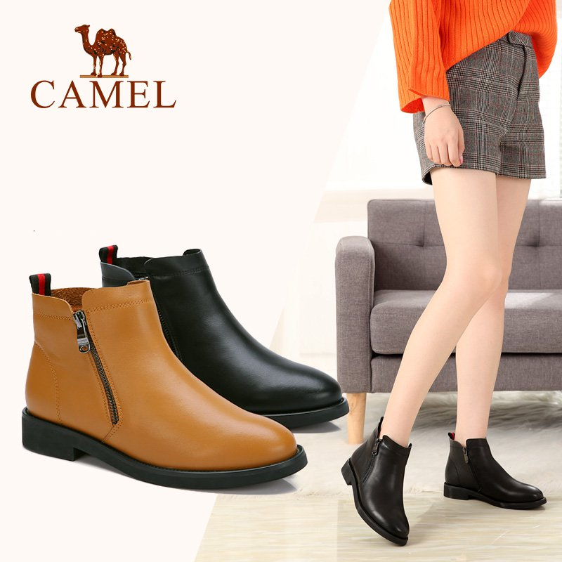 CAMEL Women Boots Shoes 2018 Winter Leather flat Boots England Chelsea Shoes Women Black Keep Warm Shoe For Ladies xiangxue warm and fuzzy black suede flat boots for winter 2018 chelsea boots for women