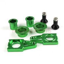 Free Shipping CNC Front & Rear Wheel Hub Spacers & Rear  Chain Adjuster With Spool Slider Bolts Sets Fit KX125 250 KXF250 KXF450