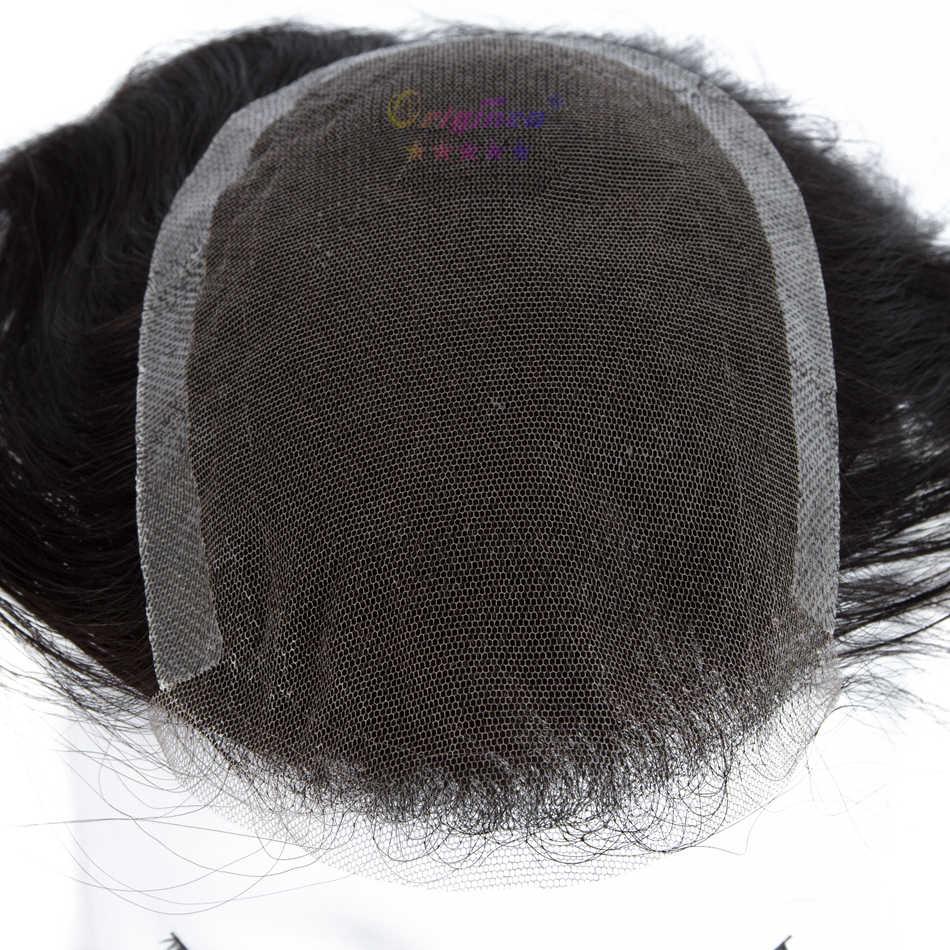 Originea мужской парик из натуральных волос, 6 дюймов, 100%, Remy парик из натуральных волос, для замены, для мужчин, t system Toupee, для мужчин, чистая основа, Размер 12*19 см