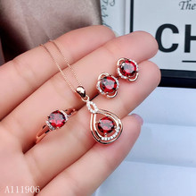 KJJEAXCMY boutique jewelry 925 sterling silver inlaid natural gem magnesium aluminum garnet pendant necklace ring earrings femal zhhiry women jewelry sets natural red garnet gem stone genuine 925 sterling silver ring pendant chain