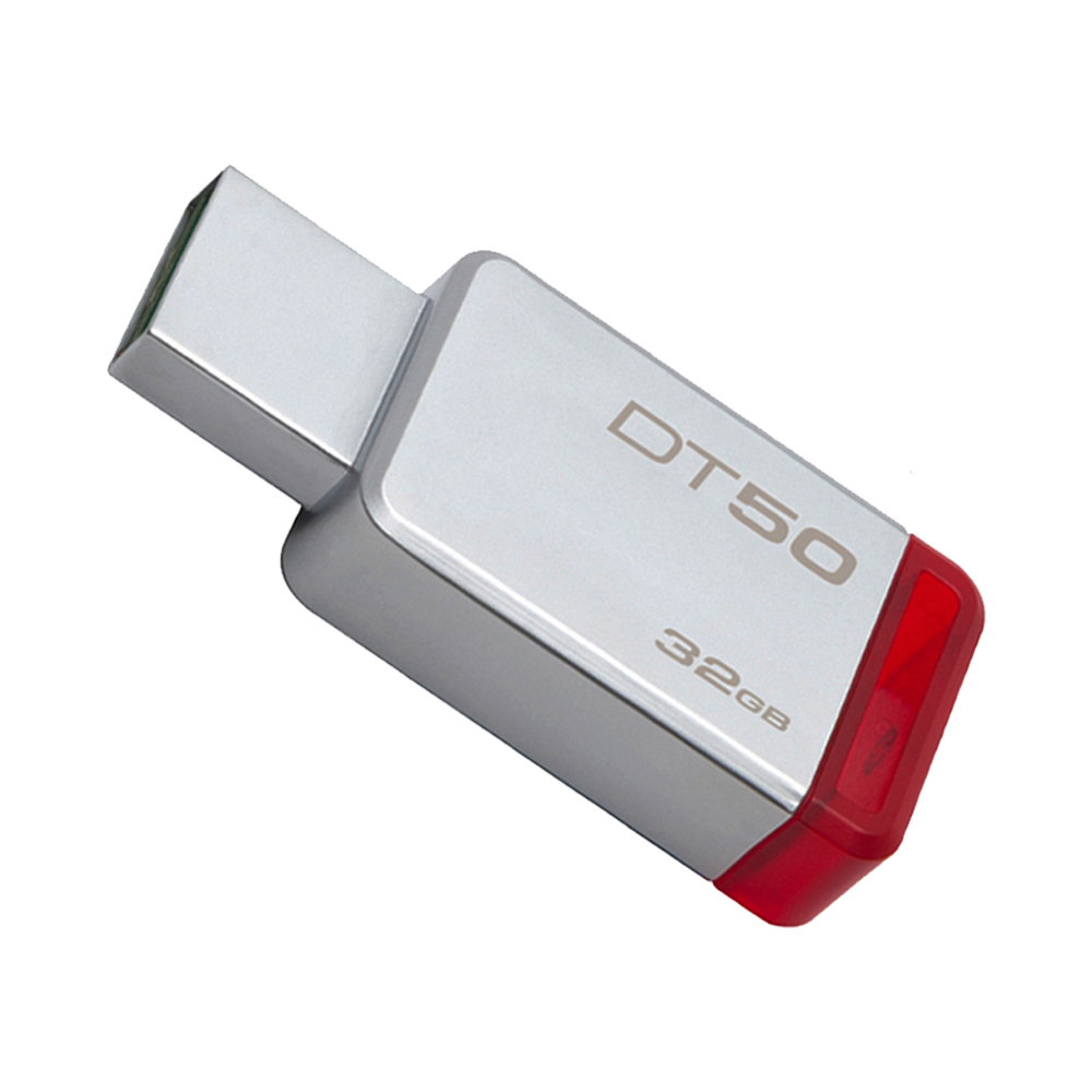 Kingston Technology DataTraveler 50 32GB, 32 GB, 3.0 (3.1 Gen 1), USB Type-A connector, Capless, Red, Silver