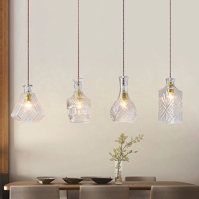 Modern Minimalist Vintage Wine Bottle Pendant Lights CafeRoom/Bar Lamp Single Glass Pendant Lamps Decoration Indoor Lighting E27 mystery mek 1632