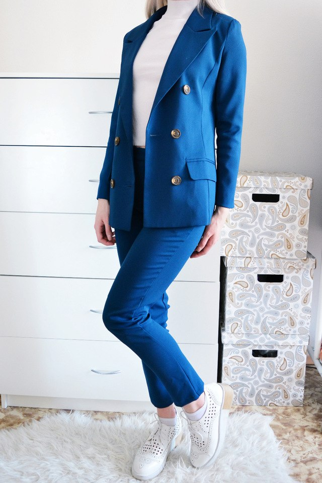 2016 Spring Fashion Leisure Korean Simple Double Breasted Two Piece Loose Woman all match lovely suit