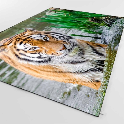 Else Brown Black Tiger Animals in Blue River 3d Print Non Slip Microfiber Living Room Decorative Modern Washable Area Rug MatElse Brown Black Tiger Animals in Blue River 3d Print Non Slip Microfiber Living Room Decorative Modern Washable Area Rug Mat