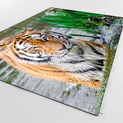 Else Brown Black Tiger Animals In Blue River 3d Print Non Slip Microfiber Living Room Decorative Modern Washable Area Rug Mat