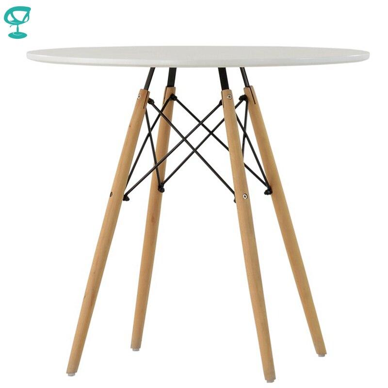 94923 Barneo Т-8 интерьерный обеденный стол МДФ на деревянных ножках круглый кухонный стол мебель для кухни столик для кофе белый стол для дачи кофейный столик доставка в Казахстан бесплатная доставка по России