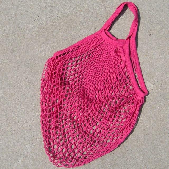 Многоразовый мешок Экологичные складной Бакалея Сумки фрукты овощи Tote сеточку большой Ёмкость тканые хлопок пляжная сумка