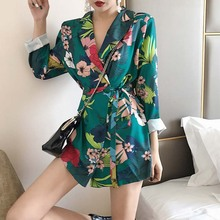 NiceMix 2019 Autumn New Blazer For Women Printing Mid-ling Style Belted Long Sleeve Jackets Elegant Loose Suits Female Veste Fem