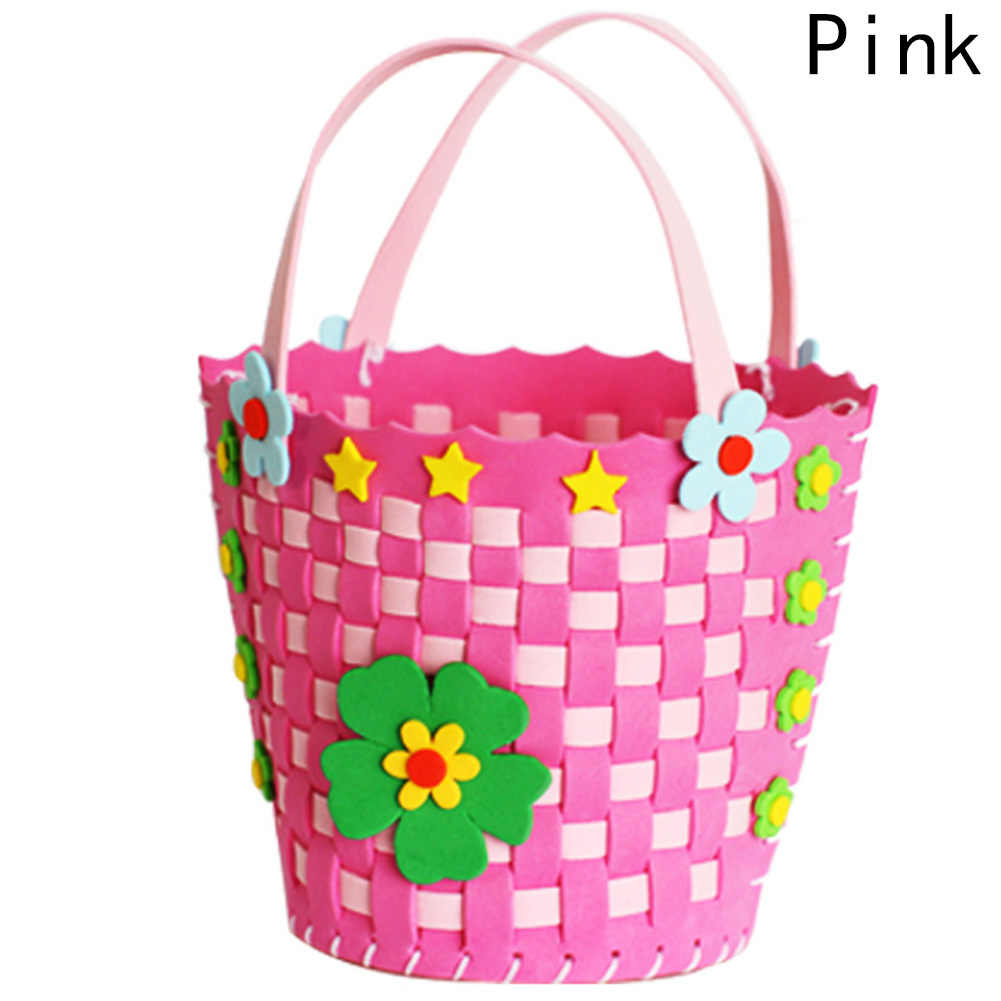 New Year gift kindergarten material bag DIY 3D EVA New children handmade braided basket 4 COLORS