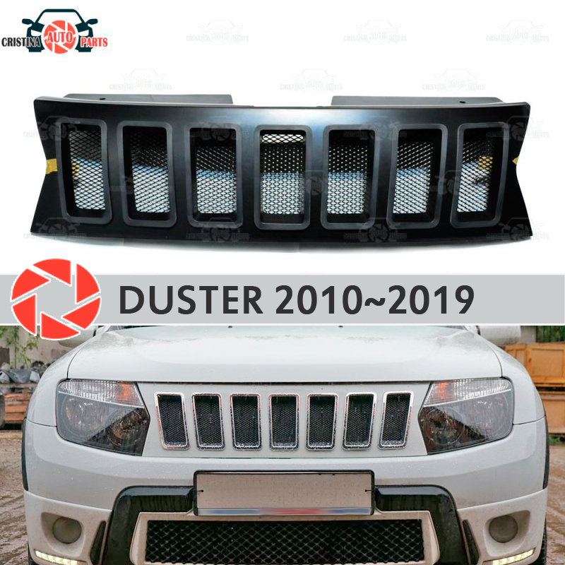 Radiator Grille for Renault Duster 2010-2019 plastic ABS accessories protection car styling front decoration tuning model 3 radiator grille case for honda civic 4d 2006 2008 2010 abs plastic tuning decor design sports styles car styling car accessories