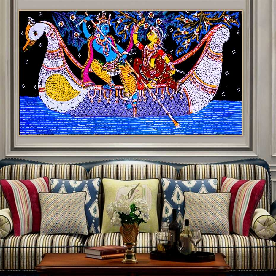 Madhubani Mithila Radha Krishna Jodi Indian God Hindu Religious Handmade Canvas Painting Poster Print POP Art for Wall decor