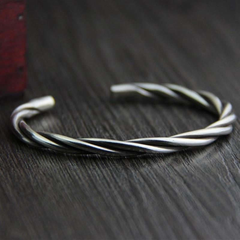 Fyla Mode Cuff 925 Thai Silver Bracelet Bangle For Women Men Vintage Twisted Bangle Jewelry For Women Men 5mm 24G WTB041