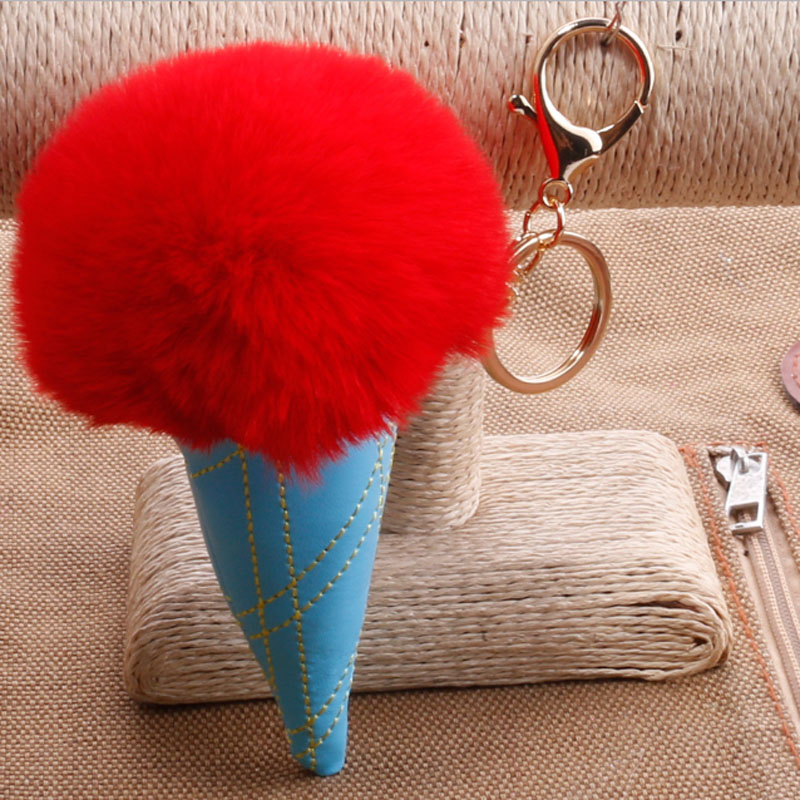Hot Selling Ice Cream Shape Fluffy Ball Ice Cream Key Chain Women Girl Bag Pendant Car Accessories Keyrings QS-1803
