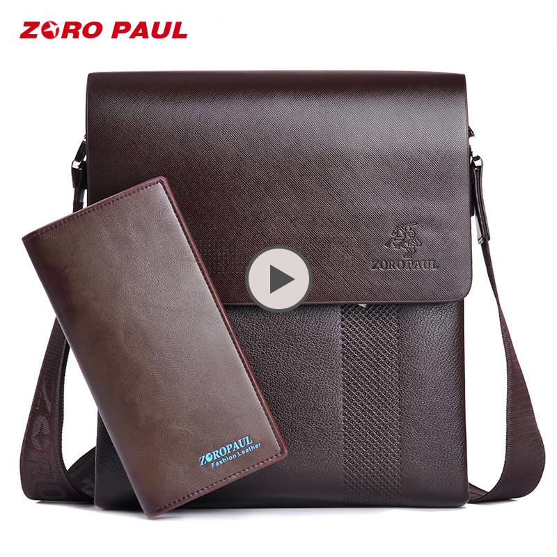 ZORO PAUL Fashion Business Leather Men Messenger Bags Promotional Small Crossbody Vintage Shoulder Bag Casual Man Bag цена 2017