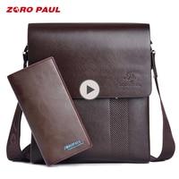 ZORO PAUL Fashion Business Leather Men Messenger Bags Promotional Small Crossbody Vintage Shoulder Bag Casual Man Bag