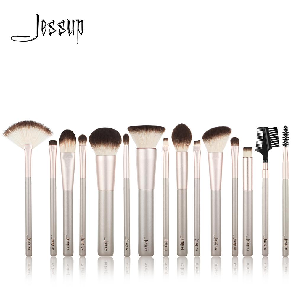NEW Jessup 15pcs Champagne gold Makeup brushes Beauty tools Professional Make up Powder Foundation Eyeshadow Make up brushNEW Jessup 15pcs Champagne gold Makeup brushes Beauty tools Professional Make up Powder Foundation Eyeshadow Make up brush