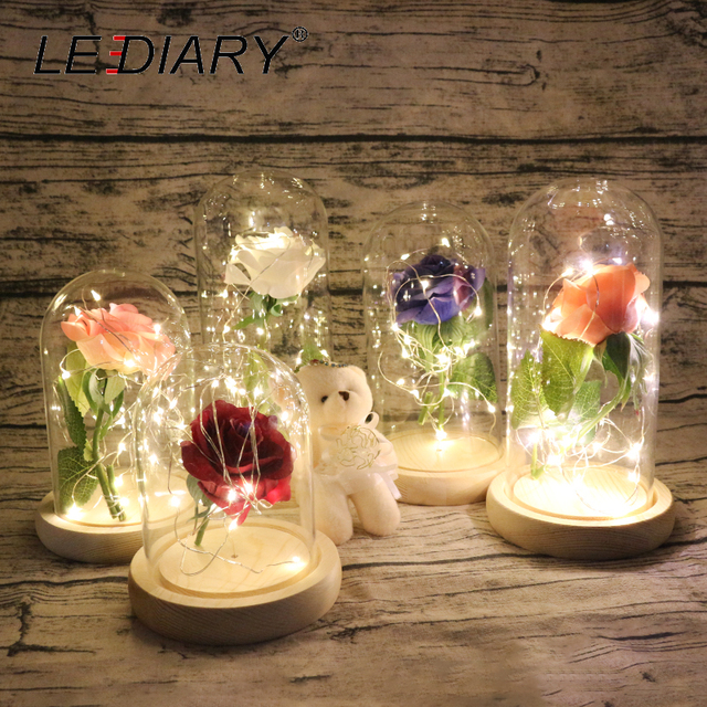 LEDIARY 1pc Rose Glass Bottles LED String Night Light 20cm Height Decoration Bedside Desk Lamp Home Decoration Lighting Fixtures