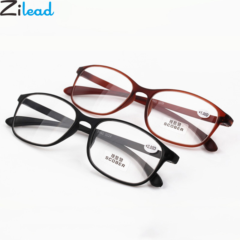 Zilead Ultralight Men Women Resin Reading Glasses Eyeglasses Myopic Lens Frame Clear Lens Presbyopic Glasses Unisex Gifts