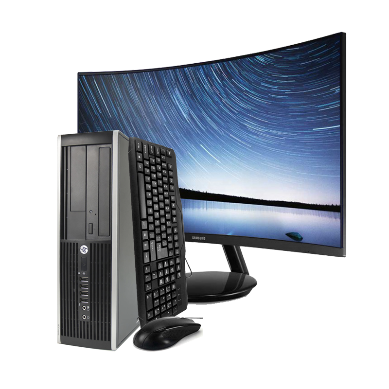 HP Elite 8200 SFF-Computer Desktop + Screen Curve 24in (Intel Core I5-2400, 4 Hard GB RAM, HDD 250 Hard GB, DVD, Windows 10