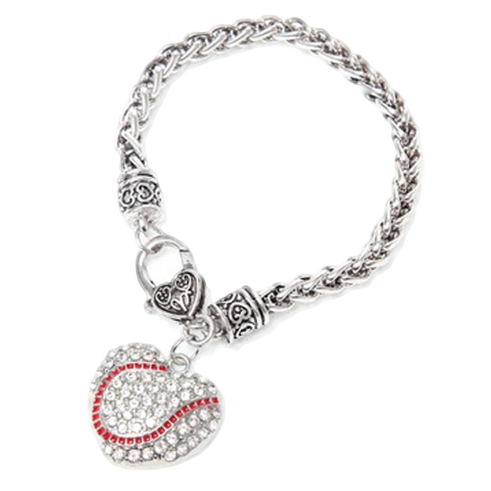 Women Sport Softball Heart Charm  Wheat Chain Bracelet For