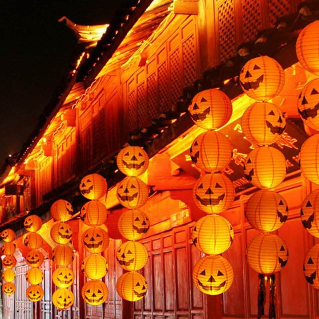 10Pcs/Set Halloween Pumpkins Lanterns Round Paper Hanging Light ...