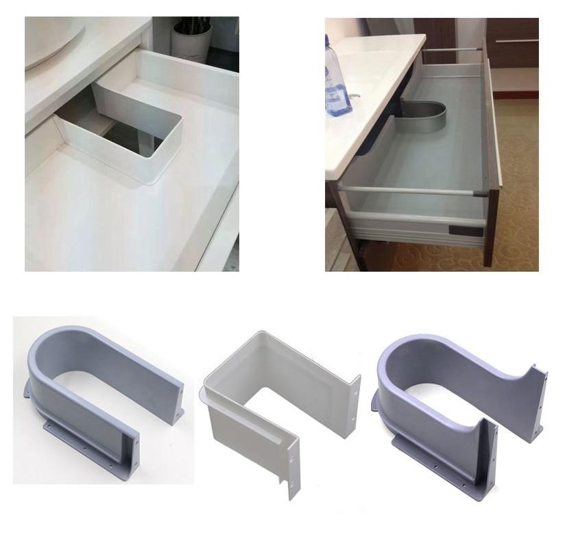 Premintehdw Plastic U Shape Sink Drawer Kitchen Bath Furniture Cabinet Recessed U under Sink Drainage Grommet