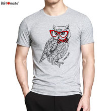 BGtomato T shirt Red glasses owl fashion t-shirt men Cartoon printed summer cool tshirt men Original brand good quality tshirt(China)