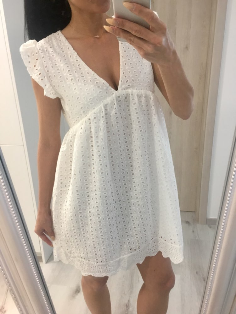 Summer New 100%Cotton White A Line Dress V Neck Hollow Out Embroidered Party Dresses photo review