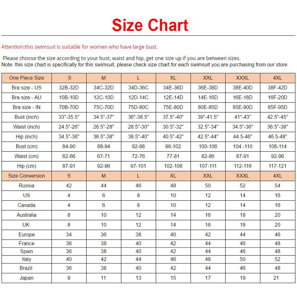 Plus size chart conversion images free any chart examples bather 2018 s 4xl black red plus size swimwear large size one bather 2018 s 4xl nvjuhfo Images