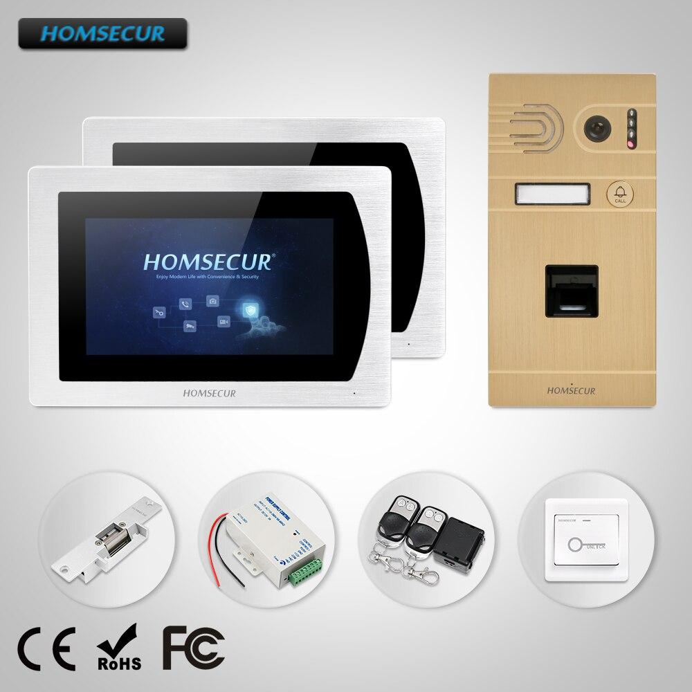 HOMSECUR 7 Свободные Руки Видео и Аудио Домашний Интерком + Звуковое Сообщение для Дома/Квартиры + Замок BC061 G + BM717 S