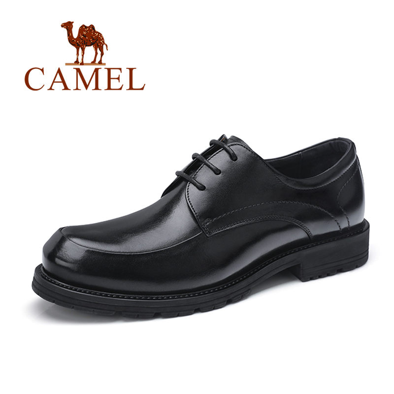 CAMEL Men Shoes Genuine Leather Autumn New Men's Business Dress Shoes with Low-heel Black Formal Footwear Lace camel genuine autumn new men s british style minimalist pure color with a soft surface leather shoes a432073040