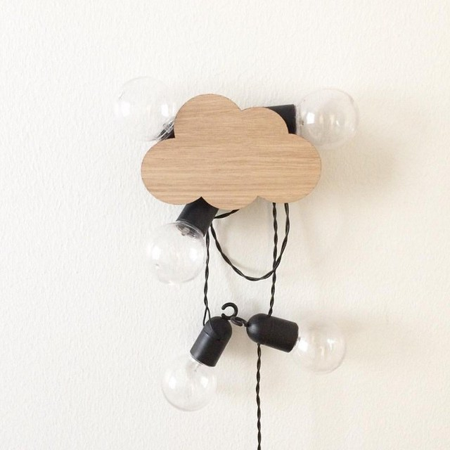 hook cloud ins nordic wooden wall clothes kids room wall sticker