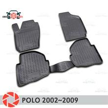 Коврики для Volkswagen Polo 2002 ~ 2009 ковры Нескользящие полиуретановые грязезащитные внутренние аксессуары для стайлинга автомобилей