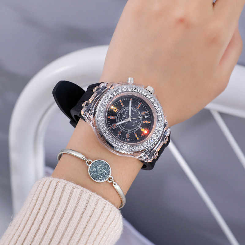 Boy Girl Watches Colorful LED Lights Students Watch Fashion Kids Birthday Gift Clock New Children's Wrist Watch Montre Enfant
