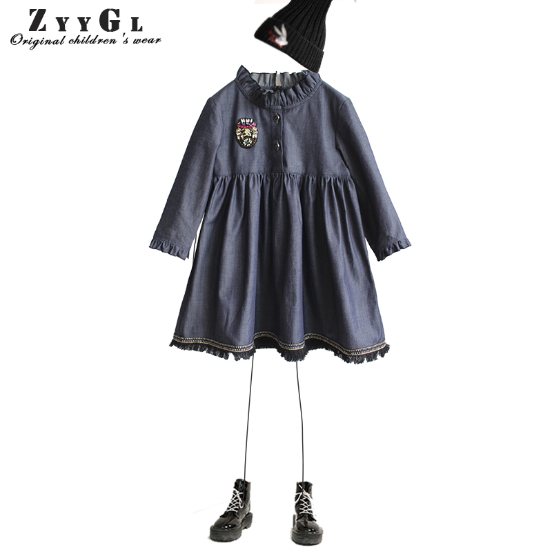 ZYYGL Girls Denim Dress Children Clothing Casual Style Girls Clothes Kids Clothes 2018 Spring Party Casual Dress Girl 2017 flower girl dress casual daily style kids dress for girls spring baby girl clothes children brand clothing fashion hot sale
