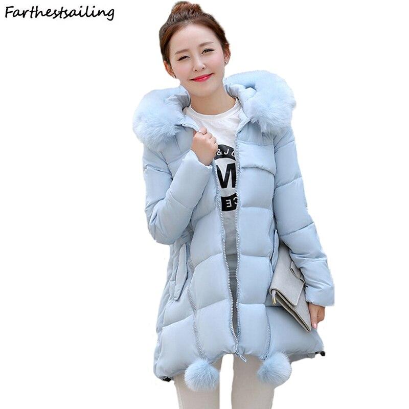 2018 Winter Women Hooded Coat Fur Collar Thicken Warm Long Jacket Female Plus Size S-6XL Outerwear Parka Ladies Chaqueta Feminin