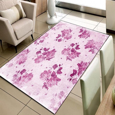 Else Vintage Pink Roses Floral Flowers 3d Pattern Print Non Slip Microfiber Living Room Decorative Modern Washable Area Rug Mat