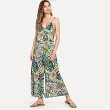22c104150e1e New summer bohemian style printed wide leg jumpsuits casual loose holiday  rompers(China)