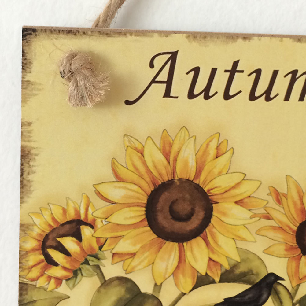 Hot Sale Wooden Plaque Autuman Greetings Sunflower Hanging Board ...