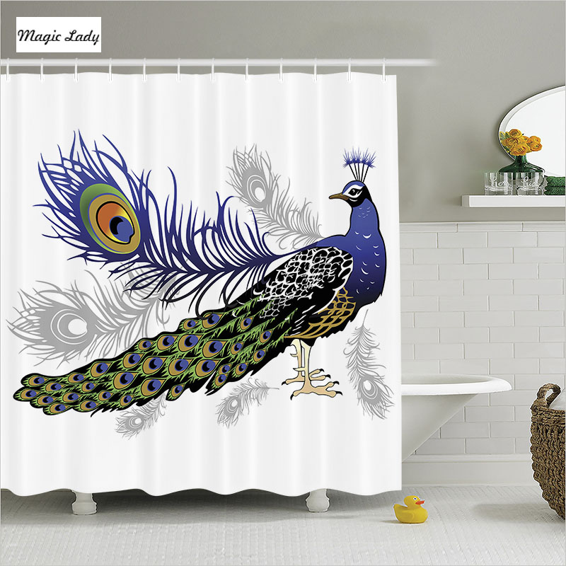 Shower curtain peacock bathroom accessories bird decor for Brown and white bathroom accessories