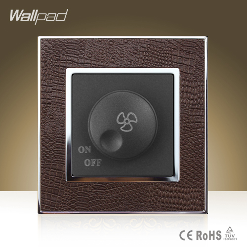 High Quality Wallpad Luxury 500W Fan Wall Switch Goats Brown Leather Rotary Fan Speed Regulation Wall Switch Free Shipping 660v ui 10a ith 8 terminals rotary cam universal changeover combination switch